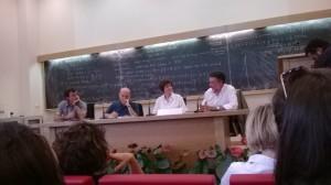 Da sinistra, Giorgio Zanchini, Marino Sinibalidi, Cinzia Corridore ed Eugenio Coccia.