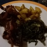 Arrosto con patate e cicoria
