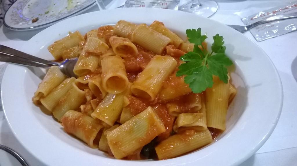 Ciavattoni allo stoccafisso del ristorante El Garagol