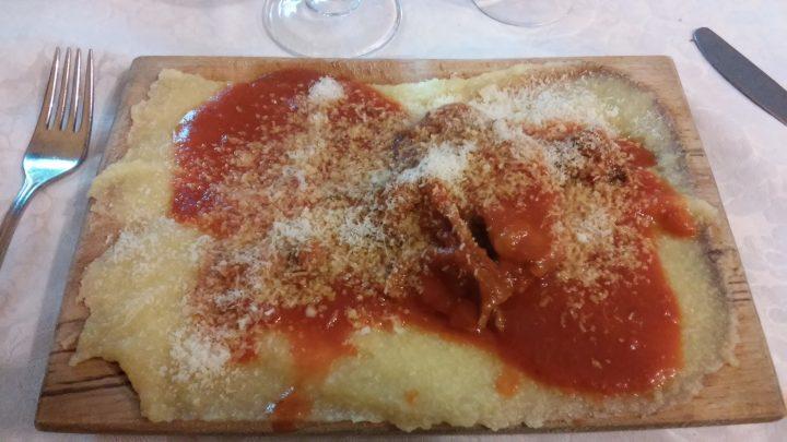 La polenta del ristorante Il cacciatore di Ovindoli